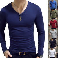 Men Simple Slim Fit O Neck Long Sleeve Muscle Tee T-shirt Casual Tops Blouse US