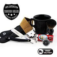 6PC Rasage Kit Cadeau Cuir Estrope Droit Coupe Rasoir Blaireau Mug & Savon