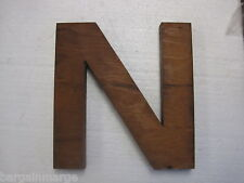 Wood Letter N Unique Vintage Monogram Arts and Crafts Foundry Pattern