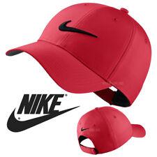 NEW Nike SWOOSH BASEBALL CAP RED PLAIN GOLF LEGACY 91 TECH FITTED PEAK HAT