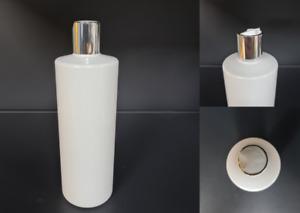 500ml White PET Lotion Bottles Spray Shampoo Silver White Flip top Caps x10