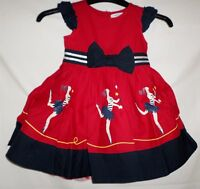 Ladybird Girls Red Navy Ballerina Print 100% Cotton Dress Bow Waistband 12m - 3y