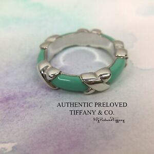 Excellent Authentic Tiffany & Co Blue Green Enamel Signature X Silver Ring #5