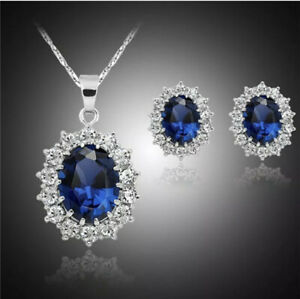 Queen Design Sapphire Royal Blue Jewellery Set Stud Earrings Necklace