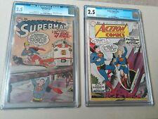 ACTION COMICS # 252 CGC 2.5 - SUPERMAN # 123 CGC 2.5 BOTH 1ST supergirl !!