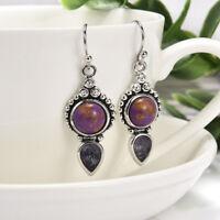 Fine 925 Silver Amethyst Wedding Engagement Drop Dangle Hoop Earrings Jewelry