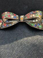 Art Deco Multicolor Rhinestone Antique Vintage Ribbon Bow Brooch Pin