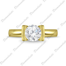 14K Yellow Gold Over 925 Silver 1Ct Channel St Diamond Solitaire Engagement Ring