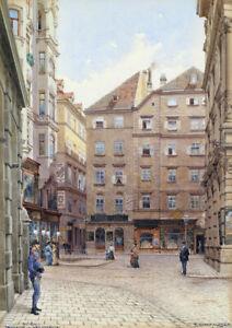 R.Moser - Vintage Cityscape - Large A2 size 42x59.4cm Canvas Print Unframed