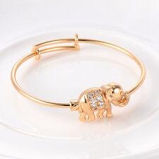 Toddler Jewelry Baby Infant Elephant Bangle Yellow Gold Plated Child Bracelet