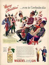 1945 Walker's  PRINT AD Gin Czechoslovakia Christmas Celebration Bolri ART