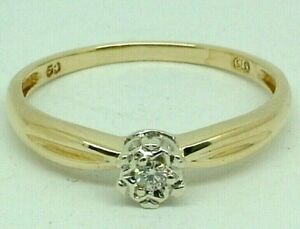 Stunning 9K Yellow Gold 0.05ct Diamond Ladies Engagement Ring 9ct 375 -Bid Fr $1