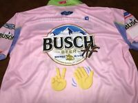 2019 XL KEVIN HARVICK BUSCH BEER Cool AF Pit Crew Shirt PINK Millennial All-Star