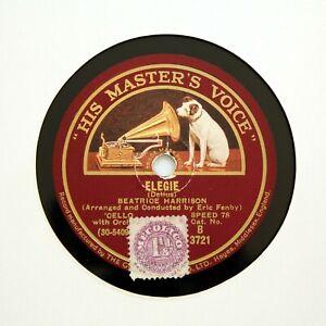 """BEATRICE HARRISON (Cello) """"Elegie / Caprice"""" (Delius) HMV B-3721 [78 RPM]"""