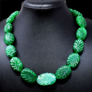 Green Emerald 675.00 Cts Earth Mined Oval Shape Carved Beads Necklace NK 49E73