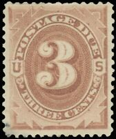1879 Issued US 3¢ Scott #J3 Postage Due Stamp, Mint-VF-Hinged, SCV $100!