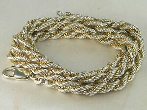 """Milor Italy Sterling Silver .925 Two Tone Rope Chain 26"""" Fine Necklace"""