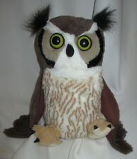 "Stuffed Great Horned Owl Wild Republic - 12"" - dated 2012"