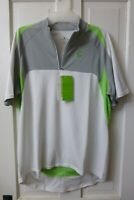 LARGE Men's CANNONDALE White Green Gray 1/4-ZIP Ride Cycling Jersey