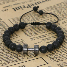 Men 8mm Matte Agate Stone Beads with Gold Plated Dumbell Charm Macrame Bracelets