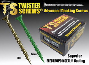 TwisterScrews E-Coat Decking Screws Superior Electropolyseal coated in Tan/Green