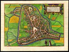 Antique Plan-Map-HERTOGENBOSCH-DEN BOSCH-NETHERLANDS-Braun-Hogenberg-1572