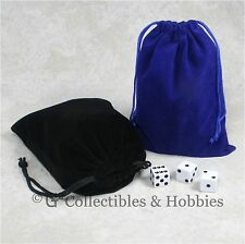 """NEW 5"""" x 7"""" Black & Blue Velveteen Cloth Dice Bag 2pc Set RPG Game Counter Pouch"""