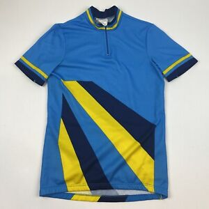 Cycling Jersey Mens Small Short Sleeve 1/4 Zip Blue Yellow