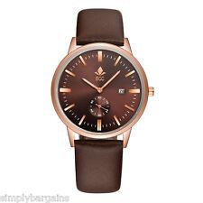 Men's Slim Calendar Analog Dial Quartz Brown Gold Watch Leather Strap - US
