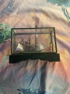 Vintage Miniature Fishing Boat Wooden Figurine in Glass Case