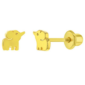 Gold Plated Elephant Prosperity Good Luck Screw Back Earrings Babies & Toddlers