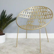 Gold Leaf Lounger Chair Metal Statement Tub Stool Occasional Single Seat Feature