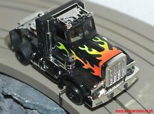 New Tyco TCR slot less Command Control Peterbult Truck Black with Flames