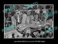 OLD LARGE HISTORIC PHOTO OF ASTON MARTIN DB3 S RACE CAR, MILLE MAGLIA RALLY 1954