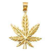14k Yellow Gold Diamond Cut Magic Marijuana Weed Hemp Leaf Charm Pendant