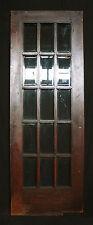 "30""x83"" Antique Arts & Crafts French Oak Wood Wooden Swinging Door Beveled Glass"