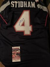 Jarrett Stidham Autographed Signed Patriots Blue Custom Jersey JSA COA