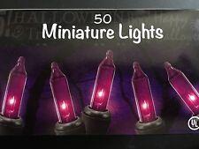 Purple Halloween Black Wire Lights Decoration 50 Bulbs Indoor Outdoor 11 ft.Wire