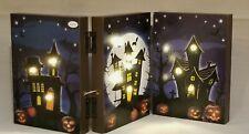 "Halloween Haunted House Bat Pumpkin Table Wall Decor Picture Light Up 8x18"""