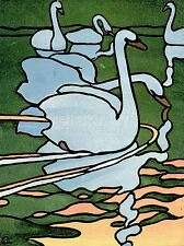 ART PRINT POSTER PAINTING ANIMALS BIRDS SWANS NOUVEAU WHITE NECK FRANCE NOFL0733