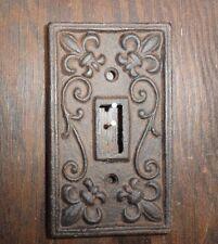 Set of 5 Cast iron single light switch plate shabby cottage fleur de lis chic