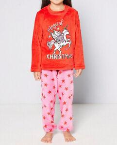 Girls Unicorn Xmas Fleece Pyjamas Size 4-5 Years BRAND NEW