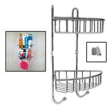 2 Tiers Bathroom Shower Shelf Corner Organiser Caddy Shampoo Storage Holder UKDC