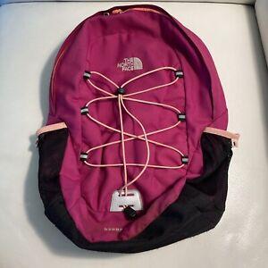 The North Face Happy Camper Backpack Bag Pink Black Zip Inside Pocket Used