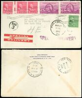 "1945 Phila' CDS, Great SPECIAL DELIVERY Label to NYC, ""DUE 3"", PREXIES #804 #806"