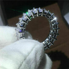 White Gold Excellent Emerald Cut 3.00Ct Diamond Full Eternity Band 14K