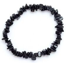 Black Tourmaline Schorl Crystal Chip Bracelet Black Protective Base Root Chakra