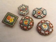 Job Lot Of 5 Early Floral Micro Mosaic Brooches