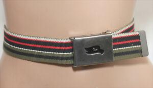 Tony Hawk Khaki Green w/ red/black/white stripes Webbing Belt - Size 32-36