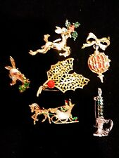 Lot of 6 Christmas Brooches signed GERRY'S